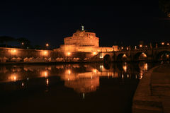 rome för ängelslottitaly natt saint Royaltyfri Bild