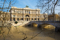 Rome - The facade of Palace of Justice - Palazzo di Giustizia and Tiber at high wather. Royalty Free Stock Photos
