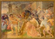 Rome - The Fall of Jesus under cross fresco in church Chiesa San Marcello al Corso by Paolo Baldini (1600) Royalty Free Stock Images