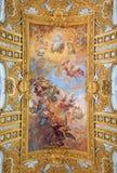 Rome - The Fall of the Rebelious Angels on the vault of nave  in baroque church Basilica dei Santi Ambrogio e Carlo al Corso. Stock Photo