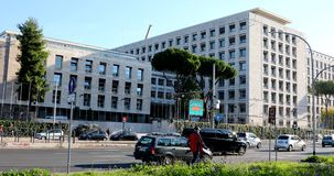 Rome, FAO building 4k real video stock video footage