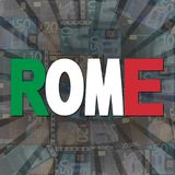 Rome flag text on Euros burst illustration royalty free illustration