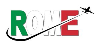Rome flag text with plane and swoosh illustration stock illustration