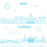 Rome and Florence vector line illustrations. Rome Royalty Free Stock Image