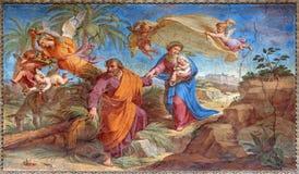 Rome - flyget till den Egypten freskomålningen i Basilika di Sant Agostino (Augustine) vid Pietro Gagliardi Royaltyfria Foton