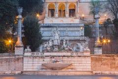 Rome - The Fontana del Nettuno by Giovanni Ceccarini on Piazza del Popolo at dusk. ITALY - Rome - The Fontana del Nettuno by Giovanni Ceccarini (1822 - 1823) on royalty free stock photos