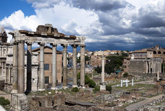 Rome - Fori imperiali - Italy. The Forum in Rome, Italy, with the ruins of several temples Stock Image