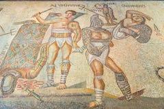 rome Forntida romersk golvmosaik som visar gladiatorer i galleriaen Borghese Royaltyfri Foto