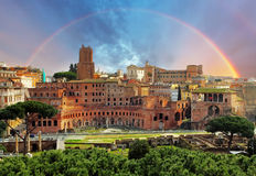 Rome - Foro Traiano. Rome, Italy. Ancient Roman ruins in Foro Traiano (Trajan's Forum Royalty Free Stock Images