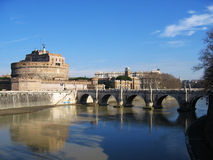 Rome fortess tiber bridge Stock Photos