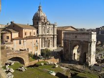 Rome forum. The Roman Forum ( Foro Romano) is a rectangular plaza surrounded by ruins of many important buildings in the center of Rome. It was originally a stock photography