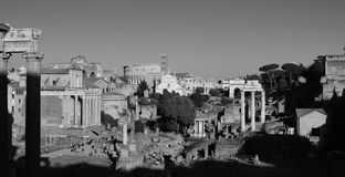 Rome forum, ancient city in black and white panoramic Royalty Free Stock Images