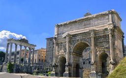 Free Rome Forum By Day. Arch Of Septimius Severus Stock Photography - 141887482