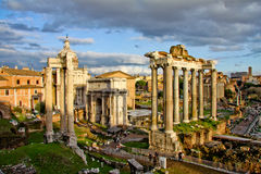 Rome. Forum Romanum. Septimius Severus. Septimius Severus arch located in northern part of the Roman Forum between Curia and Rostroj on ancient Sacred road (Via Royalty Free Stock Image