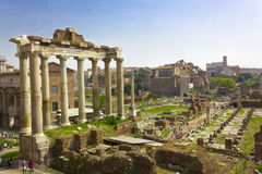 Rome. Forum Romanum. Septimius Severus. Septimius Severus view of the ancient Sacred road (Via Sacra) Rome, Italy Royalty Free Stock Image