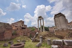 Rome Forum Ruins. At day time. Italy Stock Photos