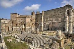 Rome, Forum van Augustus - brede mening Stock Foto's