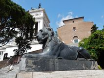 Rome - Fountain of the Lion at the Ari Coeli. Rome, Lazio, Italy - June 28, 2017: Detail of the Lion Fountain seen from the bottom of the staircase of the Ara Royalty Free Stock Photo
