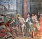 Rome - freco of Flagellation of Christ Stock Photos