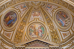 Rome -  The fresco in apse of side chapel of st. Joseph  in Basilica di Sant Agostino (Augustine). Royalty Free Stock Photo