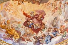 Rome - The fresco The Eternal in Glory by Luigi Garzi 1685 in apse of Cybo chapel in church Basilica di Santa Maria del Popolo. stock image