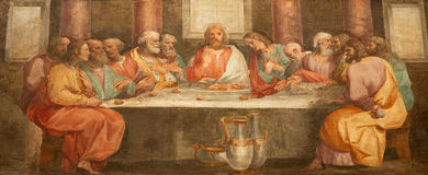 Rome - fresco of Last super of Christ Stock Photo