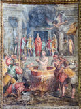 Rome - fresco of martyrdom of St. John the Evangelist (he was allegedly boiled in oil) in church Chiesa di Santo Spirito in Sassia Stock Photos