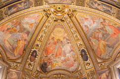Rome - The fresco in side apse of church Chiesa San Marcello al Corso. The Coronation, Dormition and Assumption of Virgin Mary. Stock Photo