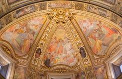 Rome - The fresco in side apse of church Chiesa San Marcello al Corso by Francesco Salviati (1563). Stock Photography