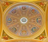 Rome - The fresco of side cupola in church Basilica dei Santi XII Apostoli from 19. cent. Royalty Free Stock Photo