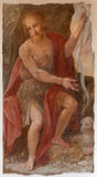 Rome - The fresco of St. John the Baptist by A. Nucci (1587 - 1588) by in Basilica di Sant Agostino (Augustine). Stock Photography