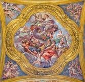 Rome - The fresco of virtues on the little cupola of side nave in church Basilica dei Santi Ambrogio e Carlo al Corso Stock Image