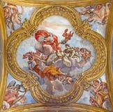 Rome -  fresco of virtues on the little cupola of side nave in church Basilica dei Santi Ambrogio e Carlo al Corso Stock Image