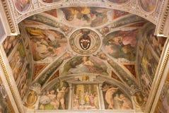Rome - The frescoes The Four Evangelists in the side chapel in church Chiesa della Trinita dei Monti. Stock Photos