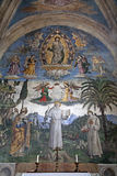 Rome - frescos from Santa Maria Aracoeli. Rome - Pinturicchio's frescoes from 15th-century depicting the life of Saint Bernardino of Siena in the Cappella royalty free stock photo