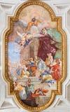 Rome - fresko op de kluis van kerk Chiesa Di San Pietro in Vincoli met IL Miracolo delle Catene - het Kettingsmirakel Stock Foto's