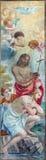 Rome - freskomålningen av dopet av Kristus av Giacinto Gimignani (1606 - 1681) i kyrkliga Chiesa di Santa Maria ai Monti Royaltyfri Fotografi
