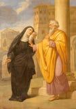 Rome - freskomålningen av St Augustine och hans moderst Monica i Basilika di Sant Agostino (Augustine) förbi Arkivfoton
