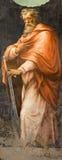 Rome - freskomålningen av St Paul aposteln från sidokapellet av Kristi födelse i den kyrkliga Chiesa dellaTrinita deien Monti frå Arkivbild