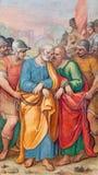 Rome - freskomålningen av St Peter och St Paul i förbindelse vid G B Ricci från 16 cent i kyrkliga Chiesa di Santa Maria i Transp Royaltyfria Foton