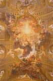 Rome - freskomålningen på tak av kyrklig Chiesa del Jesu The Triumph av namnet av Jesus royaltyfria bilder
