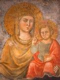 Rome - freskomålningMadonna della Strada - vår dam av vägen från det 15th århundradet av den okända konstnären i kyrkliga Chiesa  Royaltyfria Foton