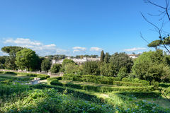 Rome garden landscape. A nice landscape in Rome from a public garden with a clear sky Royalty Free Stock Images