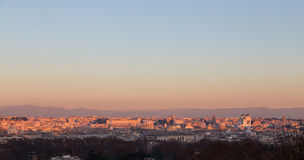 Rome from Gianicolo panorama at sunset Royalty Free Stock Images