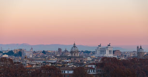 Rome from Gianicolo panorama at sunset.  Stock Photo