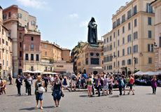 Rome giordano bruno bronze statue Stock Photography