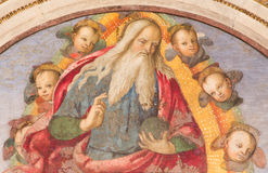 Rome - God the Father giving his blessing by Aiuto del Pinturicchio in Basso della Rovere chapel in Basilica di Santa Maria del Po. ROME, ITALY - MARCH 9, 2016 royalty free stock image