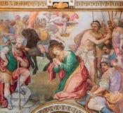 Rome - halshuggning av den St Paul fresoen vid G B Ricci från 16 cent i kyrkliga Chiesa di Santa Maria i Transpontina Royaltyfria Bilder