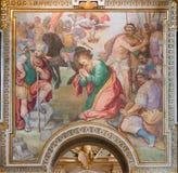 Rome - halshuggningen av den St Paul fresoen vid G B Ricci från 16 cent i kyrkliga Chiesa di Santa Maria i Transpontina Royaltyfri Fotografi