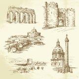 Rome - hand dragen uppsättning stock illustrationer